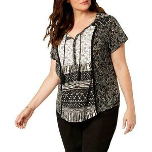 Style & Co Women's Plus Printed Peasant Top Blouse